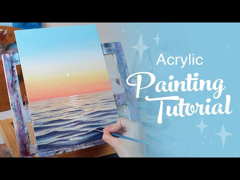 Acrylic Painting Tutorial - Ocean Sunset (Beginner to Intermediate)