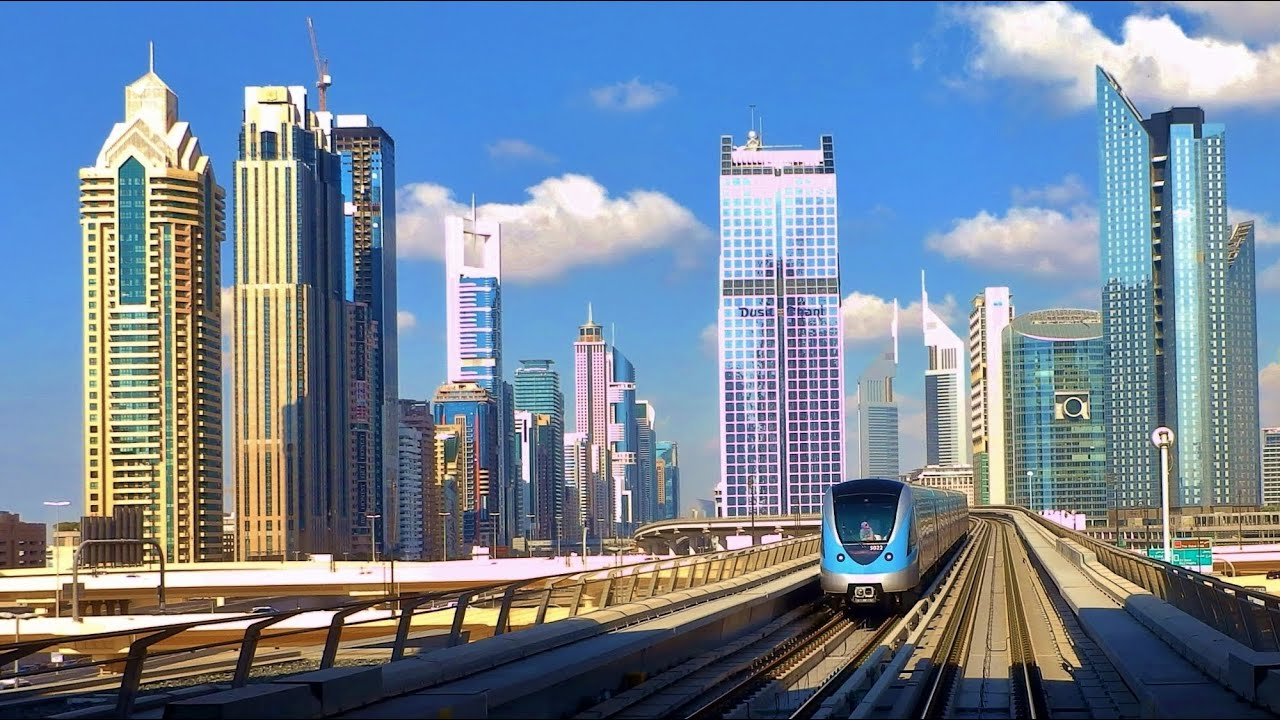uae dubai city metro in hd, very long - most of the route 2013! high