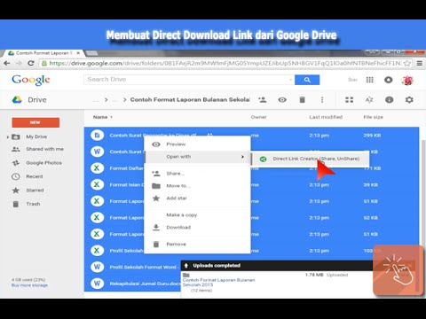 Create the Direct Download Link from Google Drive's Files or Folders