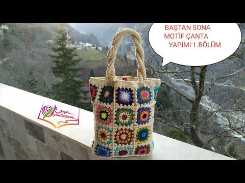 Motif kol çantası yapımı 1. Bölüm*örgü çanta*tığ işi çanta*motif yapımı*renkli motif nasıl örülür