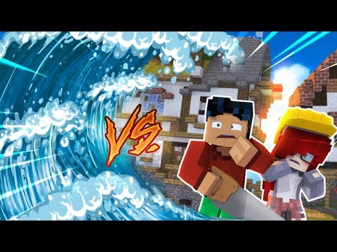 Minecraft - TSUNAMI Build Battle Challenge - Superhero Steve vs Anna
