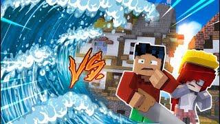 Minecraft - TSUNAMI Build Battle Challenge - Superhero Steve vs Anna