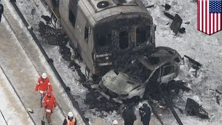 New York train collision: black SUV was stuck at railroad crossing before deadly crash and fire