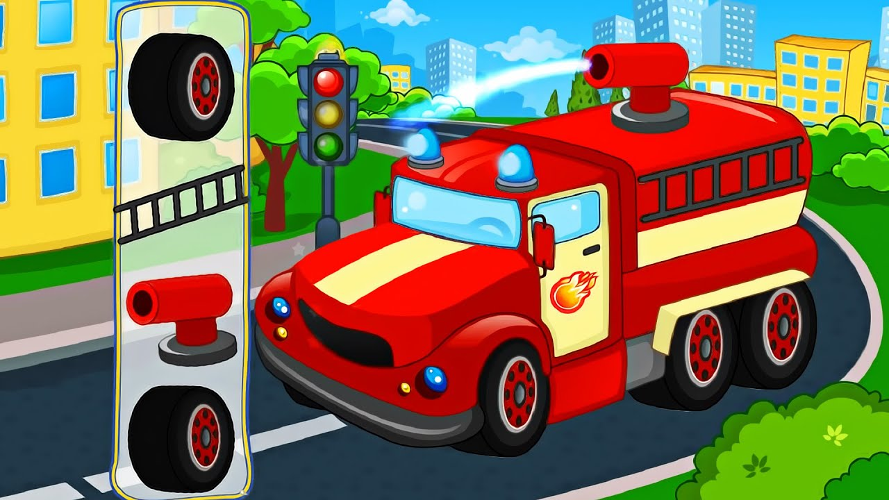 cars and trucks street vehicles videos for kids puzzle cars for kids fire trucksports car youtube