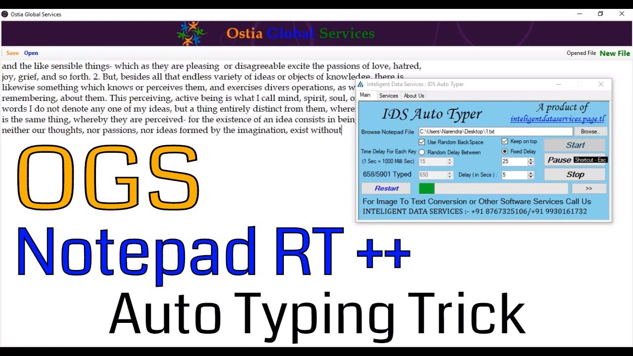 Copy Paste Trick in Data Entry Work Using IDS Auto Typer OGS / Notepad RT  ++ / Destiny Masters