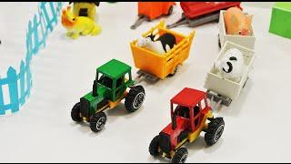 Мультик про машинки - Трактор на ферме животные для малышей: учим голоса животных