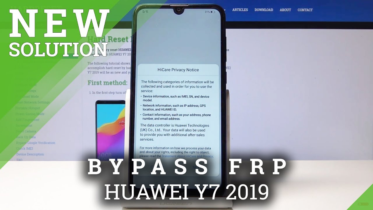 HUAWEI Y7 2019 Bypass Google Verification / Unlock FRP / Security Patch  January 2019