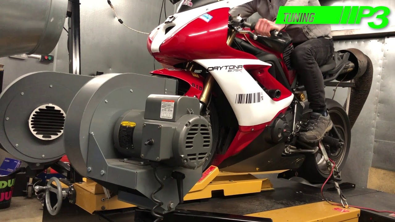 Triumph Daytona 675 Full Custom ECU Mapping Dyno run P3 Tuning