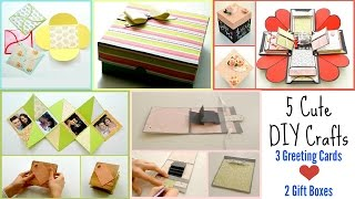 5 DIY Paper Crafts for Valentine's Day ! 3 Easy Greeting cards , 1 Exploding Box & 1 Cute Gift Box !
