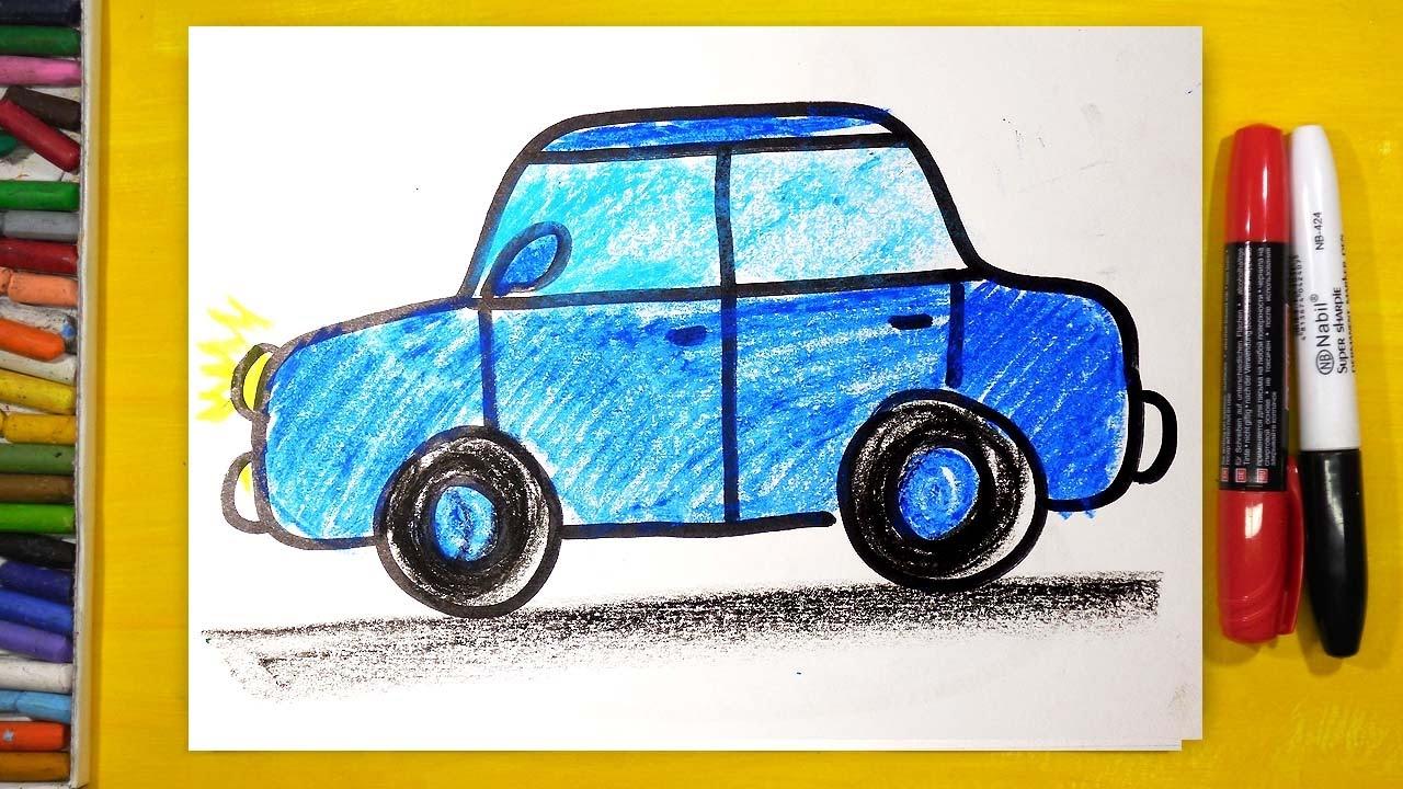 как нарисовать машину урок рисования для детей от 3 лет раскраска для детей