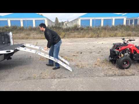 BIG HORN Tri Fold Aluminum ATV / Lawn Tractor Loading Ramps