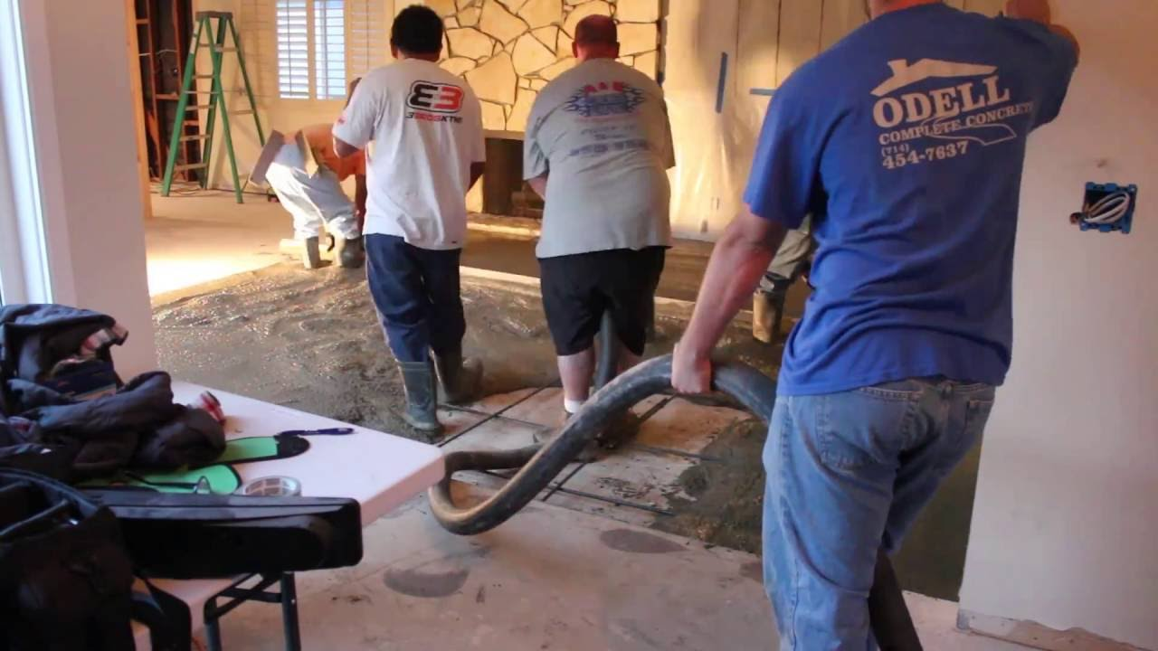 How To Fill And Pour Concrete In A Sunken Living Room Youtube