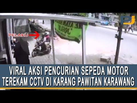 VIRAL REKAMAN CCTV AKSI PENCURIAN SEPEDA MOTOR DI KARANG PAWITAN KARAWANG
