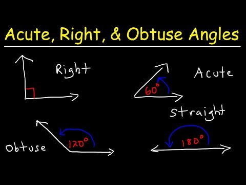 Acute Obtuse Right & Straight Angles - Complementary and Supplementary Angles