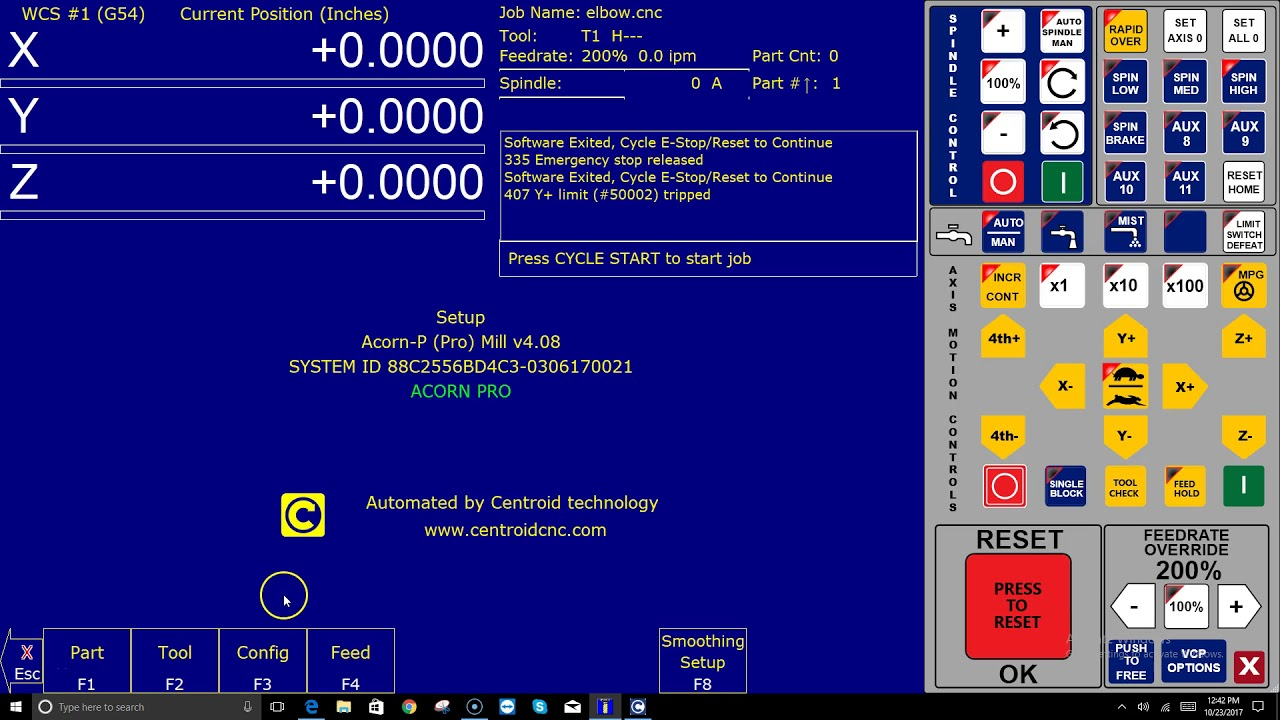 Centroid Acorn CNC Configuration Menu Password How-To Video