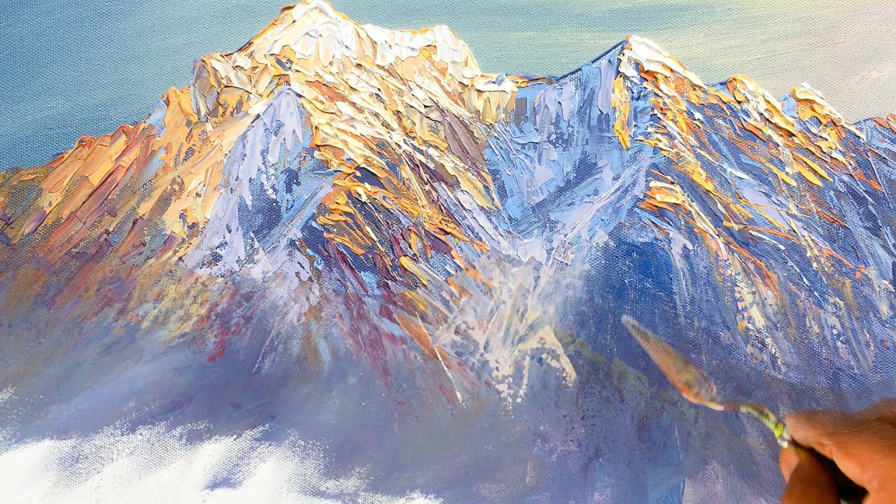 Mountain Painting | Nepali Mountain Painting Tutorial | How to Paint Mountain | Painting Lesson