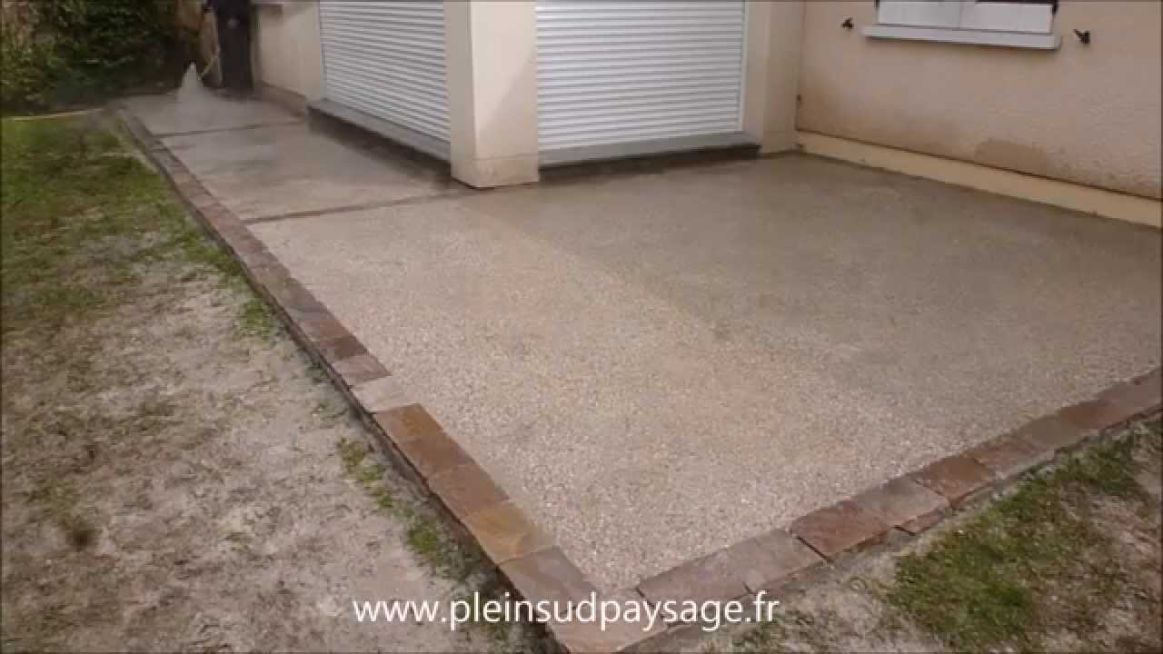 Bton imprim bois descente de garage en bton dsactiv with for Pose de carrelage exterieur sur chape beton