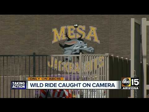 Wild ride caught on camera in front of Mesa high school