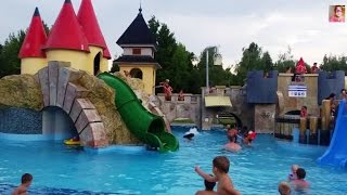 water park for kids with funny castle and many sliders video from kids toys channel