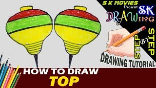 TOP   How to draw A top   Easy Drawing step by step Tutorial