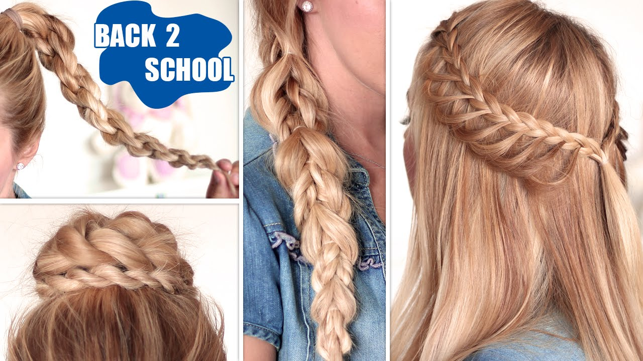 Easy Braid Hairstyles For Medium Length Hair - Easy back to school hairstyles cute quick and easy braids for medium long hair youtube