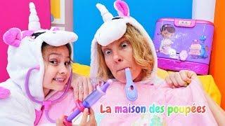 Vidéo en français. La famille de licornes : jeu au docteur