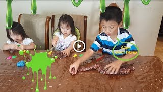 Slime Giant Worm DIY 18 Color Crystal Slime Foam Balls Challenge | Double Fun TV