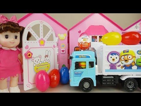 Delivery car and baby doll surprise eggs toys baby Doli house play