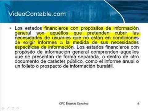 Nic 1 Presentación de Información Financiera ( Parte 1)