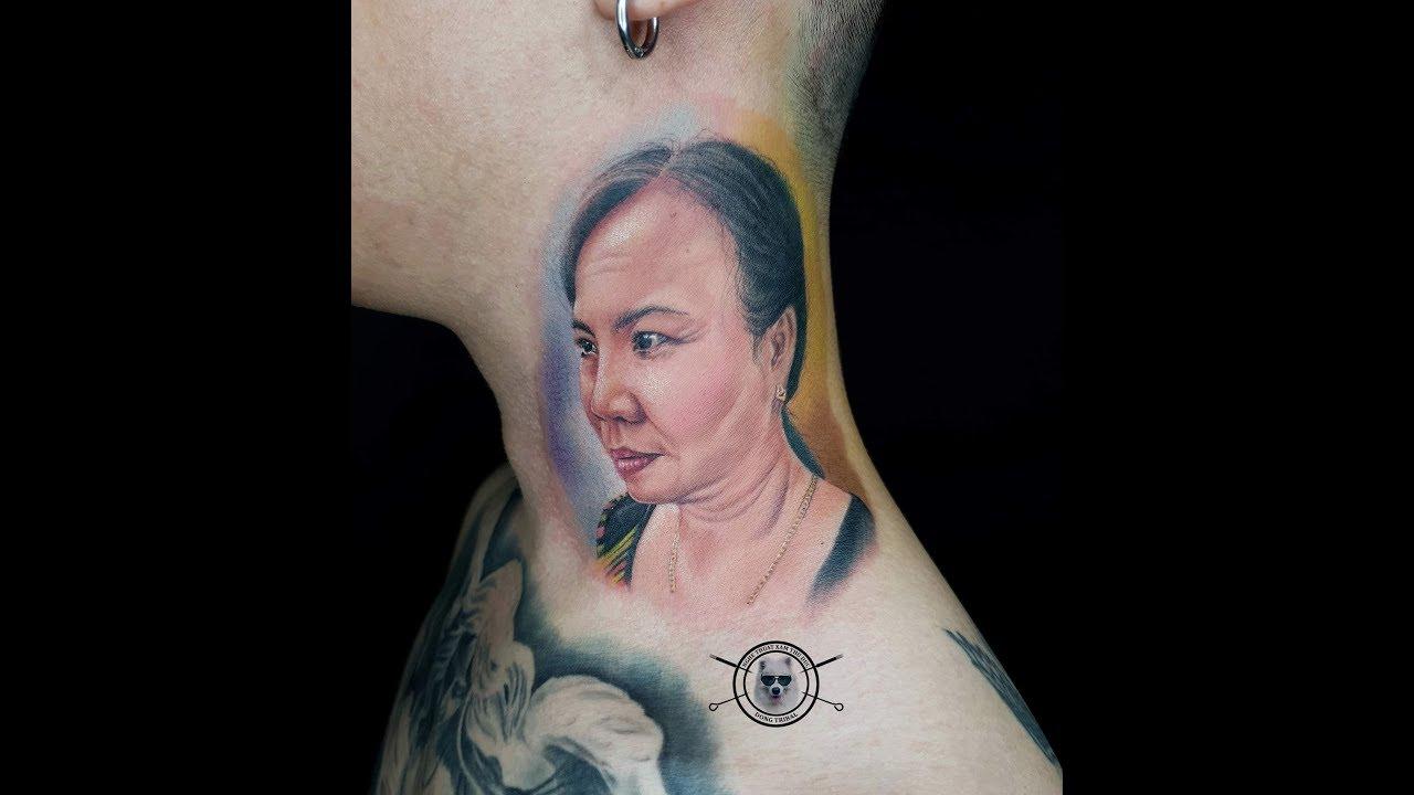 Đứa con hiếu thảo xăm chân dung mẹ hiền-Tattoo timelapse-Mom portrait tattoo-Dong Tribal