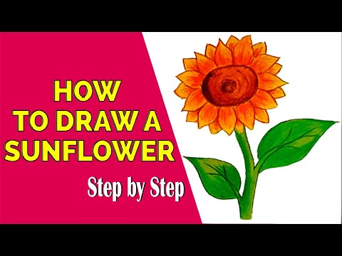 How To Draw a Sunflower 2021 drawing ideas  - Only Drawing