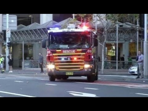 NSW Fire & Rescue + Ambulance + 4 Police units responding to an emergency in Sydney CBD - 20/05/2016
