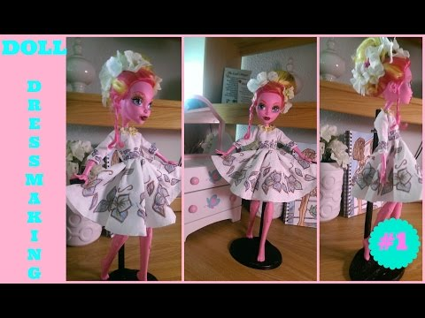 How To Make A Doll Dress -  17 Inches Monster High Doll - How To Make Monster High Doll Clothes