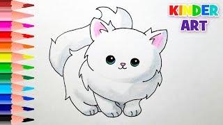 Как нарисовать кошку поэтапно | How to draw a cartoon cat