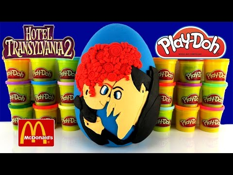 HOTEL TRANSYLVANIA 2 GIANT PLAY DOH SURPRISE EGG WITH 2015 MCDONALDS HAPPY MEAL TOYS: The Toy Bunker presents a Hotel Transylvania 2 Giant Play Doh Surprise Egg with McDonald's Happy Meal Toys! We have been waiting for this movie to come out ever since the first Hotel Transylvania came out, so we went to see it as soon as it started playing.   Once we saw the movie, we knew we HAD to make a cool