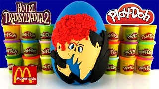 HOTEL TRANSYLVANIA 2 GIANT PLAY DOH SURPRISE EGG WITH 2015 MCDONALDS HAPPY MEAL TOYS
