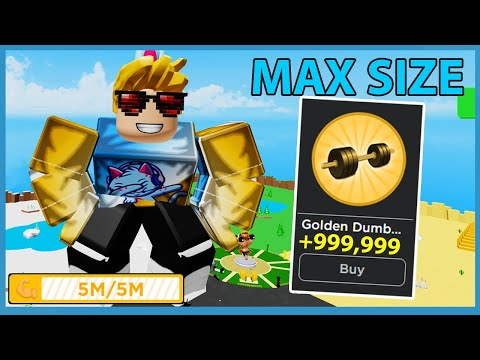 I Unlocked The Golden Dumbbells! Max Size & Muscles! - Roblox Big Lifting Simulator
