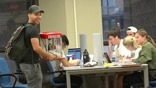 Popping Popcorn in the Library Prank