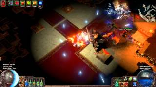 "Path of Exile : Farm Lv71 map ""Temple"" with Low Life Crit Dagger & Discharge"