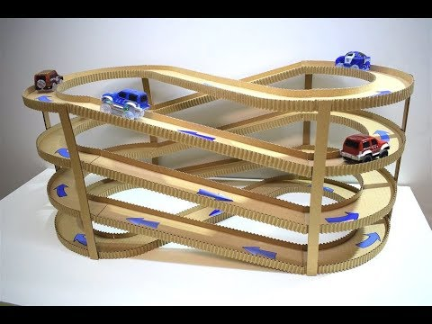 DIY Magic track with magic cars out of cardboard Track infinity from cardboard