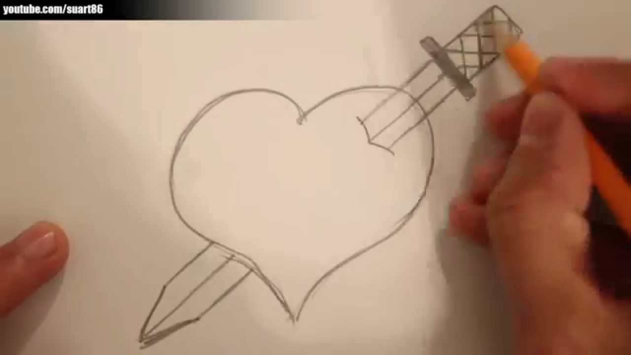 Uncategorized Drawing Of Heart how to draw a heart with sword through it youtube