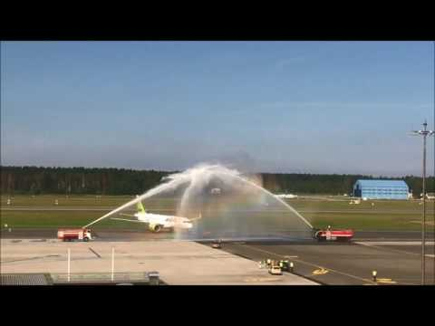 Riga International Airport welcomes 7th airBaltic brand new Bombardier CS300 arriving from Montreal
