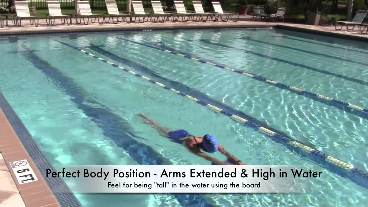 To properly use a kickboard you must press your arm pits down in the water to fully engage your back muscles