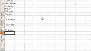 Example Timesheet template built using MS Excel