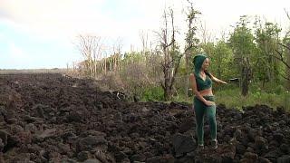 Hawaii volcano eruption scarred landscape, lives