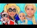 Kids Makeup Super Hero Girls with Disney Princesses Pretend Play BABYSITTING Baby Doll & girls toys