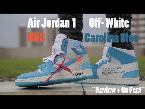 e38ddcbc5f4 AIR JORDAN 1 OFF- WHITE UNC CAROLINA BLUE Review   On Feet   videos