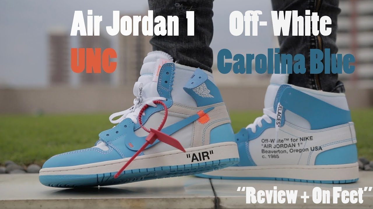 79451f57d9 AIR JORDAN 1 OFF- WHITE UNC CAROLINA BLUE Review   On Feet - YouTube