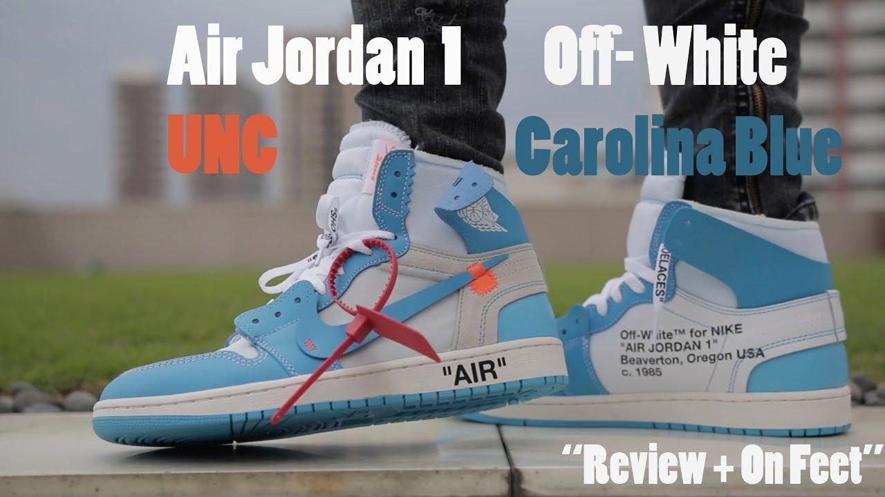 02d16943408 AIR JORDAN 1 OFF- WHITE UNC CAROLINA BLUE Review   On Feet - YouTube