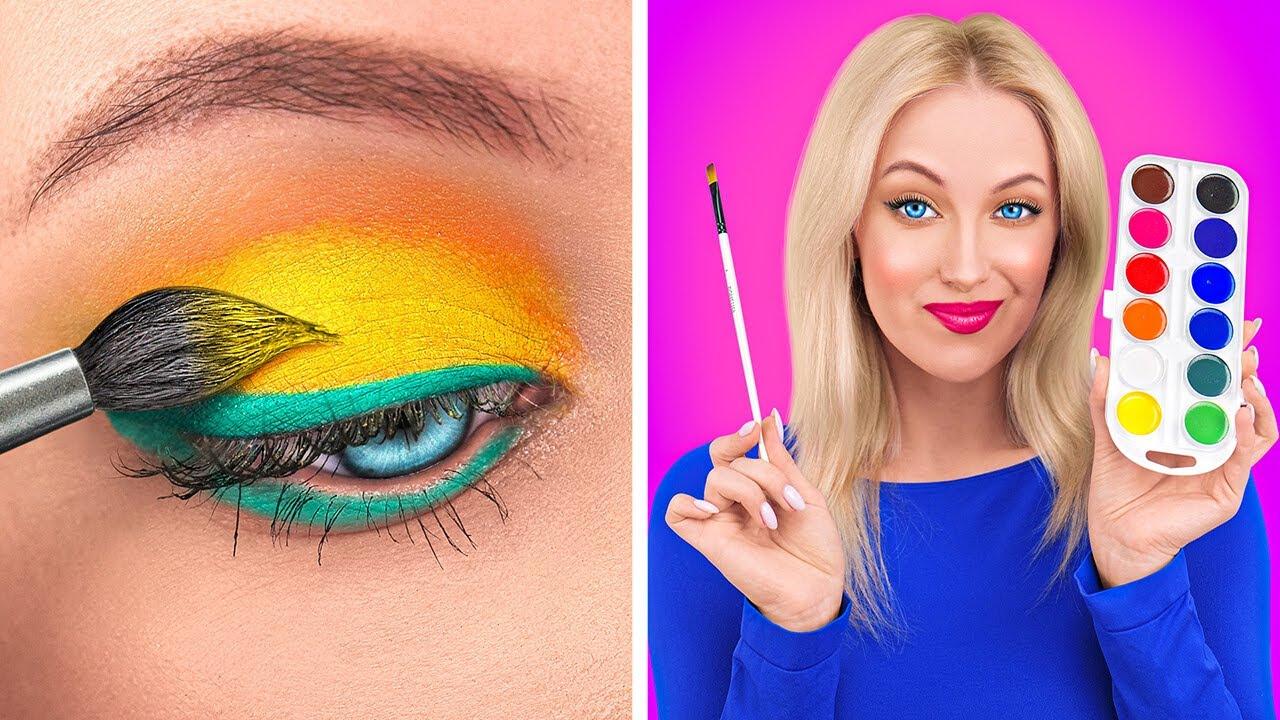 CÓMO COLAR MAQUILLAJE EN CLASE || Hermoso maquillaje para el regreso a clases por 123 GO!